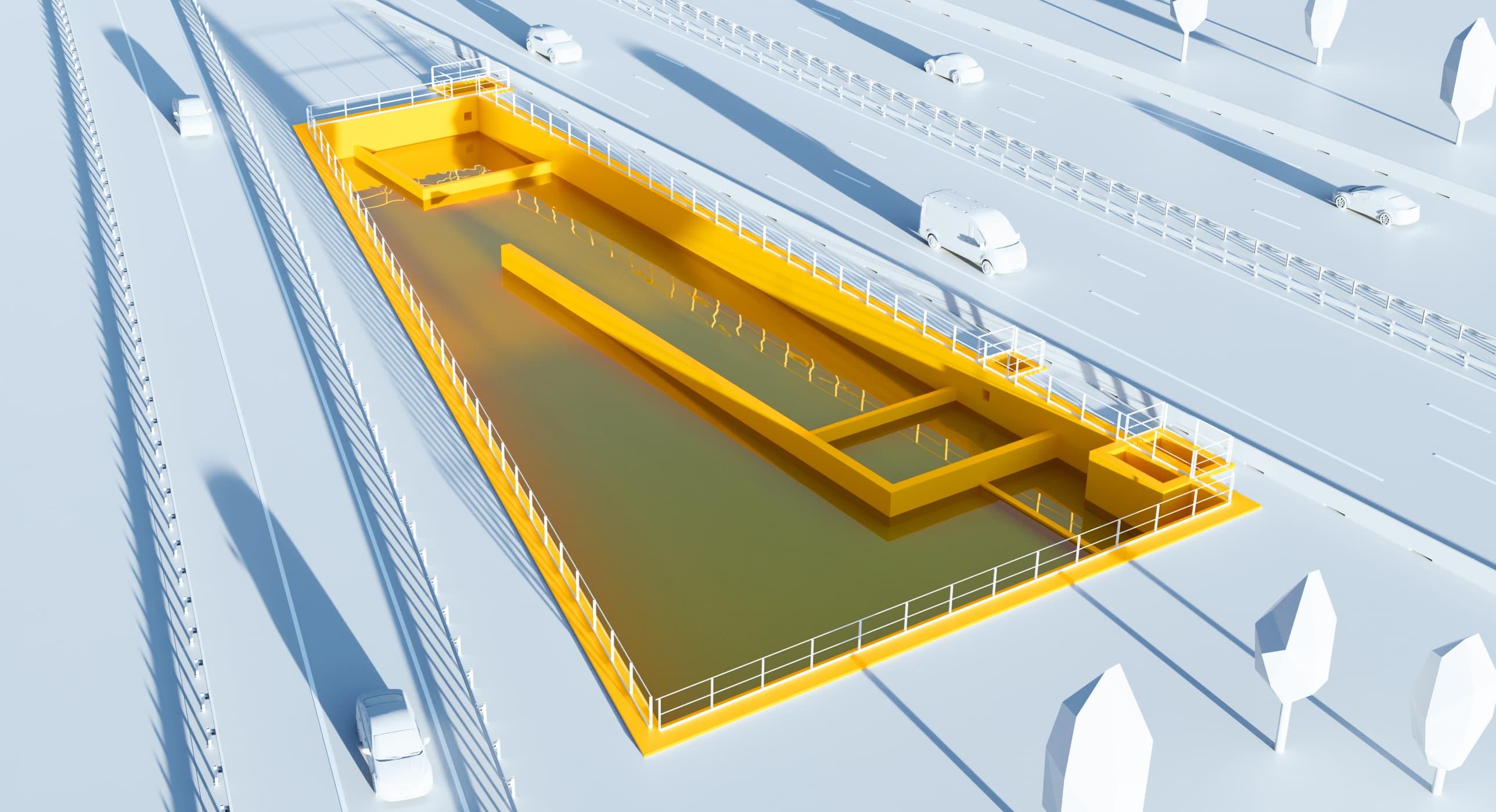 Illustration 3D : bassin d'assainissement