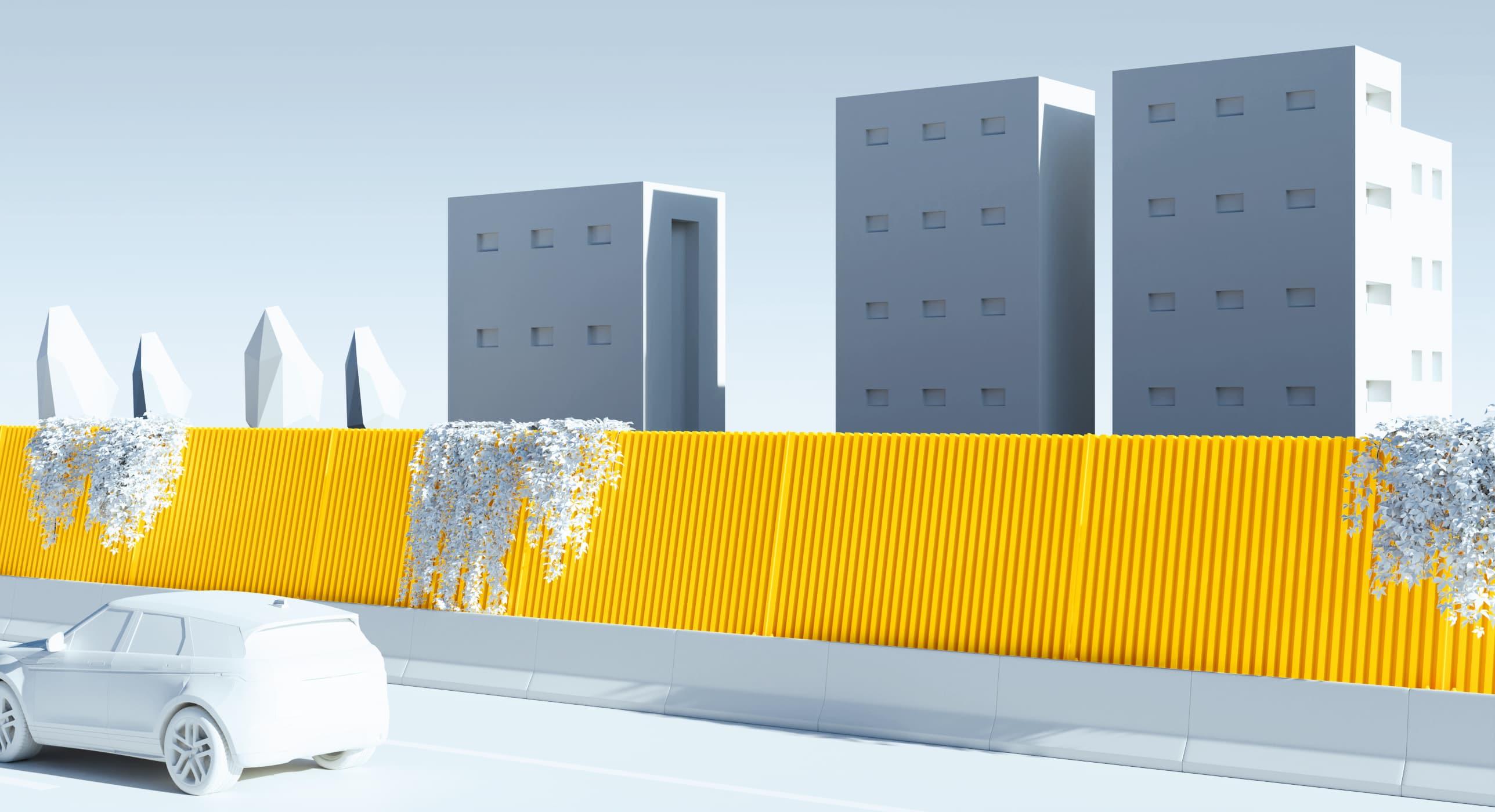 Illustration 3D : écran acoustique en béton/bois