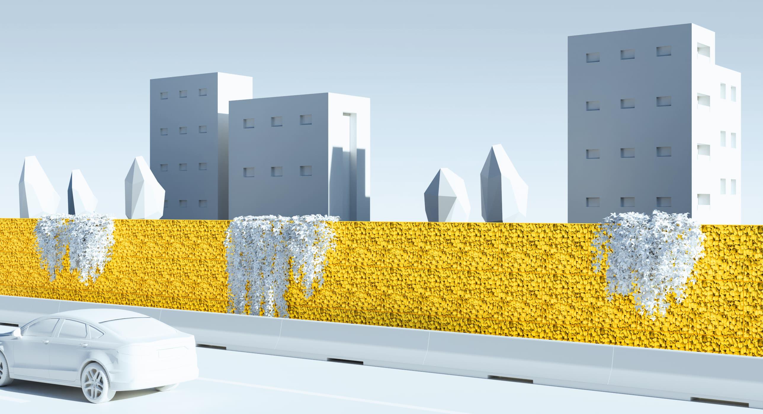 Illustration 3D : écran acoustique en gabions