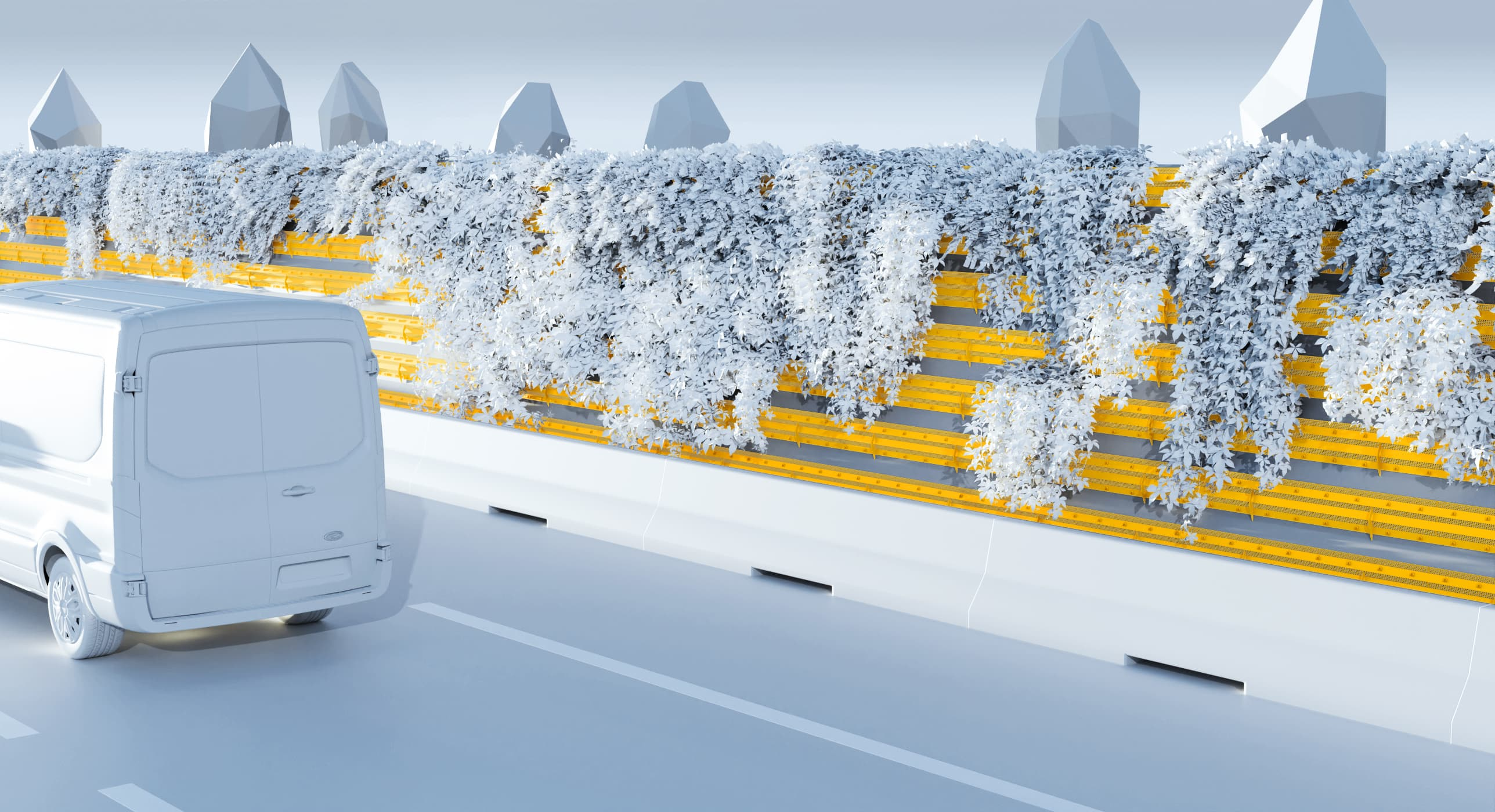 Illustration 3D : écran acoutique végétalisé