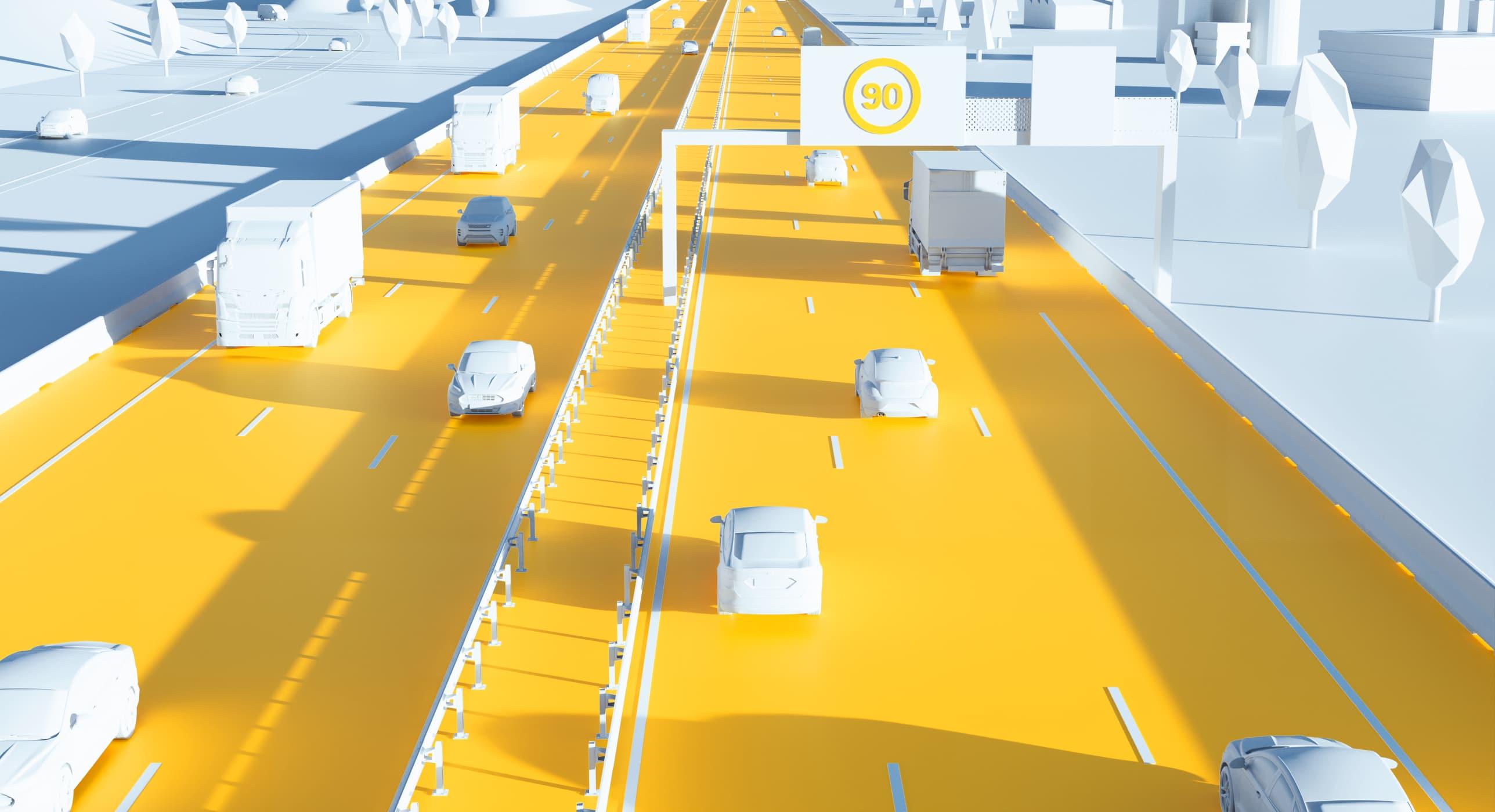 Illustration 3D : voie rapide urbaine
