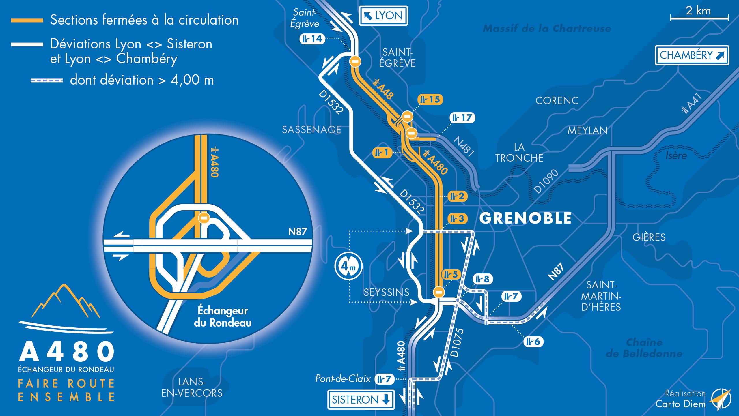 Carte de dévation suite à la fermeture de l'autoroute A480 entre le diffuseur de Saint-Egrève, le diffuseur de Seyssins, la biffurcation N481 et le diffuseur d'Oxford