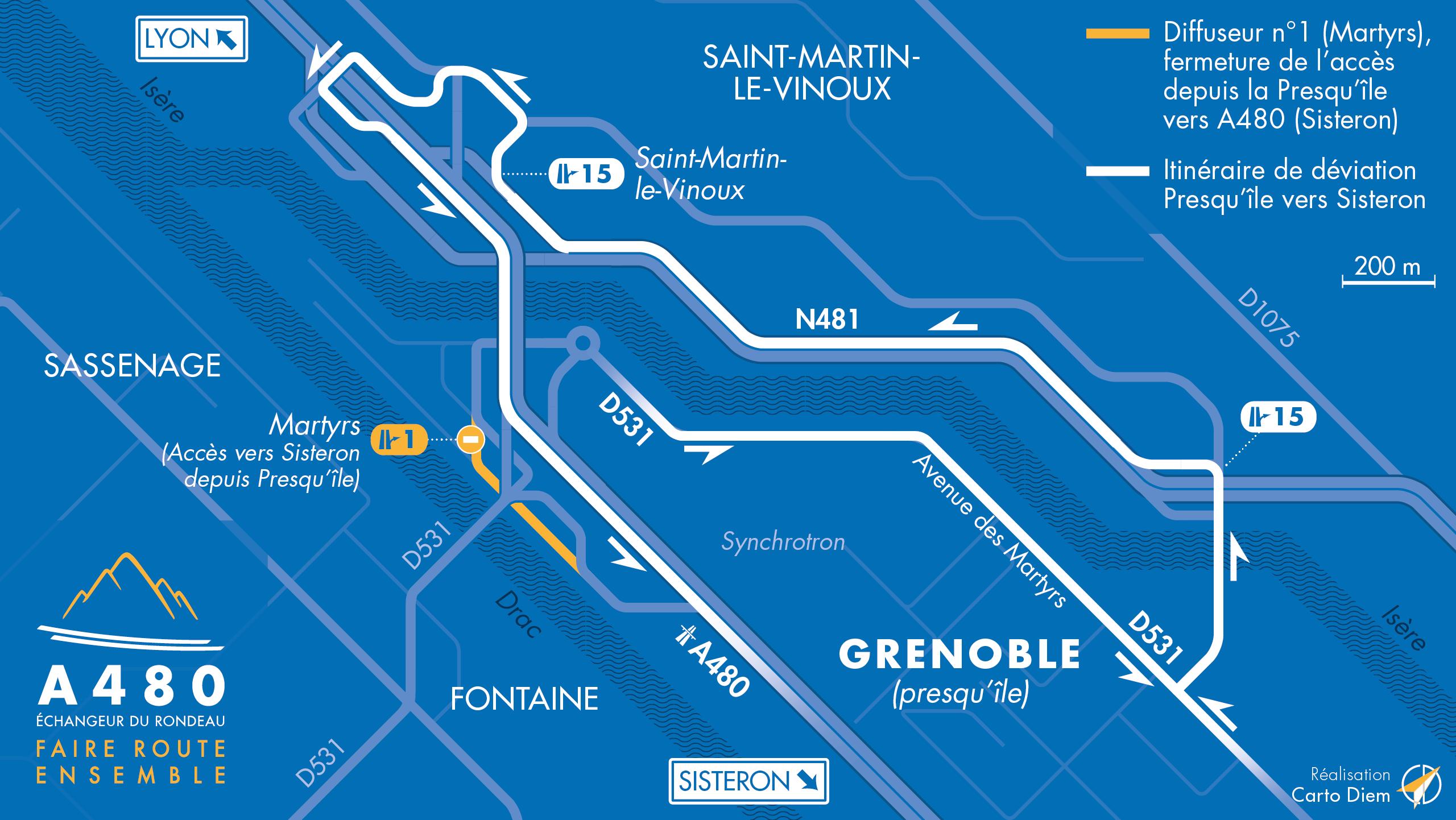 Carte de déviations mise à jour suite à la fermetures de bretelles sur le secteur de martyrs à Grenoble
