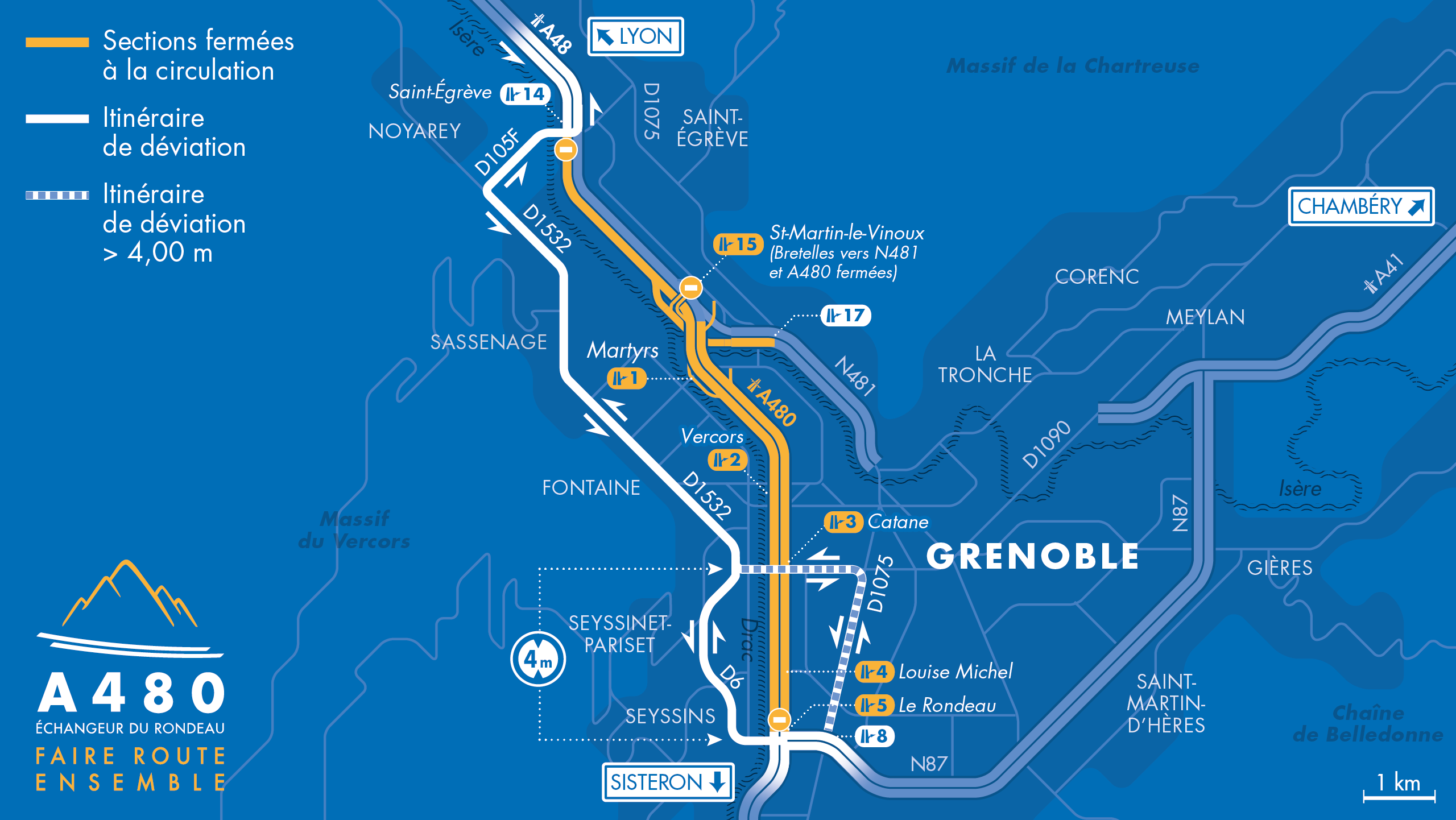 Carte des déviations entre le diffuseur du Rondeau (n°5), la bifurcation A48/A480/N481 et le diffuseur de Saint-Egrève (n°14) suite aux fermetures nocturnes de l'A480 à Grenoble